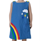 AL Limited Girls Blue Chambray Rainbow Coverall Dress