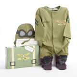 """Fasten your seatbelts! We're going from goggles to giggles when """"Big Dreamzzz"""" take off for the adventurous baby who wears our Baby Pilot two-piece sleep set--a captivating outfit that earns its wings every time mom suits up baby for the night flight to tomorrow! Features and facts:  Adorable, olive-green pilot-style bodysuit with black and gold accents and coordinating cap Body suit has military stars and stripes on the sleeves, wings with a """"Baby Pilot"""" banner on top, real pockets on the legs, and black """"boots"""" with green """"laces"""" Secure snap closure from top to bottom for easy access Comfy olive cap with pilot's goggles Machine-washable, 100% cotton Size 0-6 months Personalization is available at an additional cost (Enter monogram as first, last, middle - for example, if the name is Mia Lily Jones, enter MJL Gift box resembles a pilot's travel suitcase--olive green with yellow straps and black buckles, a white-satin bow at the top and a coordinated """"Big Dreamzzz"""" tag Gift box measures 6"""" h x 9 1/4"""" w x 2"""" d"""