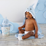 """""""Let the Fin Begin"""" 4-Piece Bath Gift Set (Blue)  Baby Aspen's """"Let the Fin Begin"""" bath set is just bursting to the gills with bath time goodies for your little one. Chances are you've never seen a shark this cuddly before. Perfect for bath time or a day at the beach, this is one gift set you will want to reel in.  Features and facts:  Four-piece bath gift set features sea blue terry hooded towel with smiling shark's face and 3-D accents including teeth, fin and tail; soft shark bath mitt with black appliqued eyes and 3-D features; and two spa slippers with sea blue shark appliques Hooded towel measures approximately 30"""" square and hood is 6"""" deep Packaged gift-ready in a faux driftwood bucket with aquatic-themed printed band and nautical braided rope handle Size 0-9 months Machine-washable, velour cotton terry"""