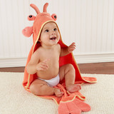 """""""Lobster Laughs"""" Lobster Hooded Towel (0-9 Months)  We have just the crustacean for after-bath coziness! You can imagine how much more fun bath time becomes when Baby Aspen's lush towel with a lobster hood embraces a wet, wiggly, little one.  Features and facts:  Adorably designed, coral, terrycloth hooded towel with 3-D lobster head, claws and tail Towel measures 30"""" square with 6""""-deep lobster hood Machine-washable Size 0-9 months"""
