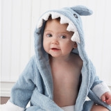 """""""Let the Fin Begin"""" Terry Shark Robe (0-9m) (Personalization Available)  Mom and Dad are going fall for thisterry-ific sea-inspired robe--hook, line and little stinker! After a refreshing bath time for baby, they'll want to wrap their wiggly, wet one in something cozy, absorbent and cute. Baby Aspen's Terry Shark Robe isreel-y fun and oh, sofin!  Features and facts:  Optional personalization only available for the """"Let the Fin Begin"""" Terry Shark Robe Sea-blue terry robe with white cuffs, two terry ties in front, a hood with smiling, white shark's teeth, appliqued black eyes and a dorsal fin accent Bottom of robe resembles a shark's tail Shark can be personalized, at an additional cost, with baby's name Machine-wash and dry (low) Size 0-9 months  Please note: All personalized items require 5 to 7 business days for processing. If item has personalized tags and stickers, these arrive unattached and require assembly.  Please pick thread color from image attached!"""