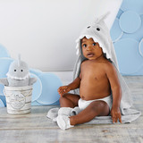 """""""Let the Fin Begin"""" 4-Piece Bath Gift Set (Gray)  Bath time just got an upgrade with Baby Aspen's """"Let The Fin Begin"""" bath set. This shark set was made for cuddles! The gender neutral Gray color is the perfect baby gift for parents that are having a little surprise. Not only can you use this for bath time, but it's also great for days at the beach or pool. You'll have the cutest shark around!  Features and facts:  Four-piece bath gift set features sea Gray terry hooded towel with smiling shark's face and 3-D accents including teeth, fin and tail; soft shark bath mitt with black appliqued eyes and 3-D features; and two spa slippers with sea Gray shark appliques Hooded towel measures approximately 30"""" square and hood is 6"""" deep Bath mitt measures 13.3"""" h x 9.8"""" w x 0.8"""" d Spa slippers measure 1.2"""" h x 3.1"""" w x 4.7"""" d Packaging Dimensions 17.7"""" h x 6.3"""" w x 6.3"""" d Packaged gift-ready in a faux driftwood bucket with aquatic-themed printed band and nautical braided rope handle Size 0-9 months Machine-washable, velour cotton terry"""