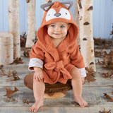 """""""Rub-a-dub, Fox in the Tub"""" Hooded Spa Robe (Personalization Available)  Create a burrow of snuggly softness for baby after every bath with Baby Aspen's """"Rub-a-Dub, Fox in the Tub"""" Hooded Spa Robe. Baby will be cozy and warm in this absolutely charming bath time essential.  Features and facts:  Burnt orange terry robe with grey and white chevron cuffs, two terry ties in front, a hood with adorably inquisitive fox face, embroidered eyes and nose and grey and white ears with chevron details. Hooded robe is machine-washable. Size 0-9 months. Personalization available. Robe measures 22""""h x 11""""w.  Please note: All personalized items require 5 to 7 business days for processing. If item has personalized tags and stickers, these arrive unattached and require assembly.  Please pick thread color from image attached!"""