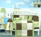 Sage & Brown Suede Crib Bedding Set