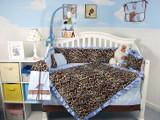 Giraffe Minky Crib Bedding Set - Soft Blue