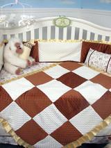 Brown & White Chenille Crib Bedding Set