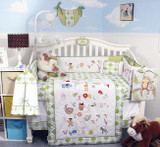 Alphabet Animals Crib Bedding Set - Green