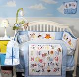 Alphabet Animals Crib Bedding Set - Blue