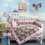 Pink Camouflage Army Crib Bedding Set