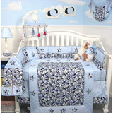 Blue Camouflage Army Crib Bedding Set