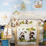 Coconut Monkey Crib Bedding Set