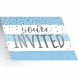 Blue/Silver Celebration Baby Shower Invitations