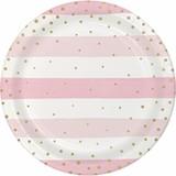 "Pink/Gold Celebration Baby Shower Dinner Plates - 9"""