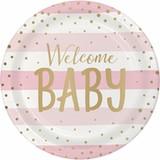 Pink/Gold Celebration Baby Shower Dinner Plates