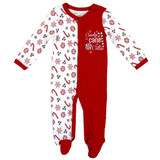 Unisex Newborn Interlock Holiday Coverall - Candy Cane