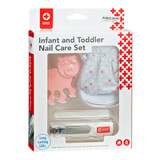 Infant and Toddler Nail Care Set  The American Red Cross Infant and Toddler Nail Care Set features a variety of useful items to help with your little one's nail care. Infants nails can get sharp, but the No Scratch Mitts will help keep those tiny nails from harming delicate skin.  The Light Up Nail Clippers give an easy view of the nail. Their curved cutting edges are also sized right for smaller nails.  For toddlers the fun Little Piggy Toe Separator makes taking care of those little toes easier for both parent and child.  For any age, the included emery boards help you easily smooth out any rough edges.