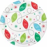 "Holiday Whimsy Christmas Lights Dessert Plates - 7"""
