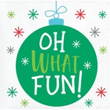 """Holiday Whimsy """"Oh What Fun"""" Beverage Napkins"""