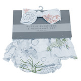 Turtles Ruffle Bamboo Bloomer Headband Set Available in 0-6 months and 6-12 months.  Under The Sea Collection  100% bamboo