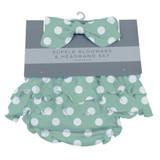 Jade Polka Dot Ruffle Bloomers and Headband Set 0-6 months and 6-12 months available  100% cotton