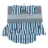 Blue and White Stripe Ruffle Bamboo Bloomer Headband Set 0-6 months and 6-12 months available  Ultimate Road TripCollection  100% bamboo