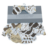 Animal Print Ruffle Bamboo Bloomer Headband Set Size - 0-6 MONTHS and 6-12 months available  On The Savannah Collection  100% bamboo