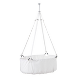 The cradle is hung from a single point - either from the ceiling or a stand. In that way, it can sway calmly and freely in all directions. With the soft movements, your child experiences a rocking and familiar sensation reminiscent of being in the womb. The movements are both soothing and relaxing while stimulating your baby's senses, balance and motor skills. Leander Cradle Includes Mattress - White