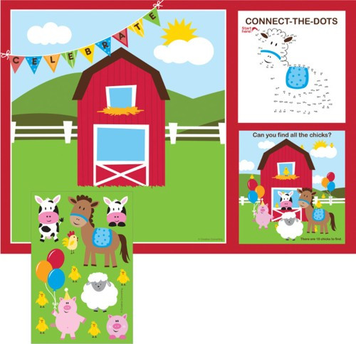 Farmhouse Fun Kids Activity Placemat W/Stickers