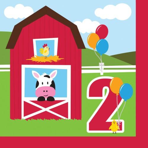 "Farmhouse Fun 2 Ply ""Happy 2nd Birthday"" Luncheon Napkins"