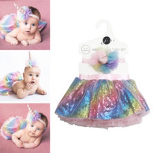 Tutu Skirt and Headband Unicorn Newborn Baby Girl Set