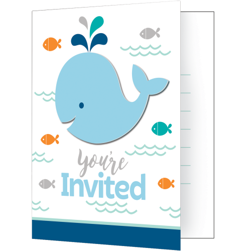 Lil Spout Blue Whale Party Invitations