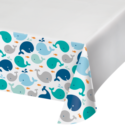 Lil Spout Blue Whale Printed Plastic Tablecover