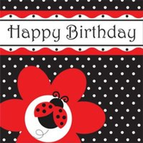 "Ladybug Fancy 3-Ply ""Happy Birthday"" Luncheon Napkins"