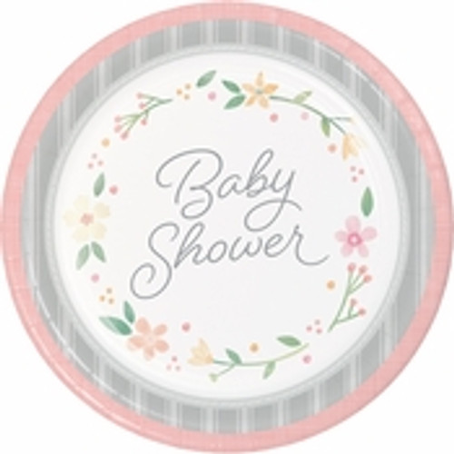 Country Floral Baby Shower Dinner Plates - 9""