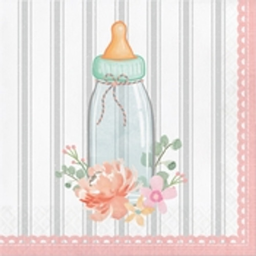 Country Floral Baby Shower Bottle Luncheon Napkins