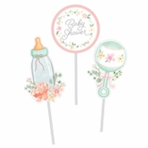 Country Floral Baby Shower Centerpiece Sticks