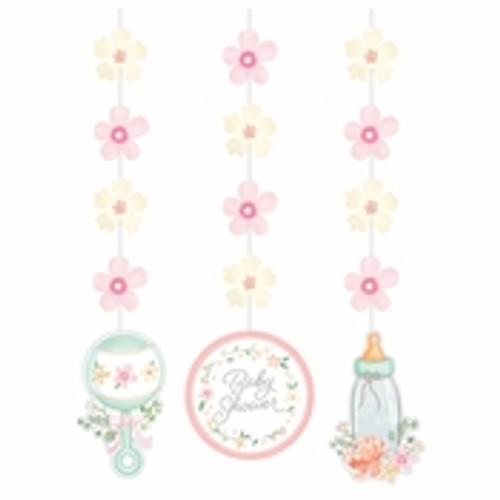 Country Floral Baby Shower Hanging Decorations