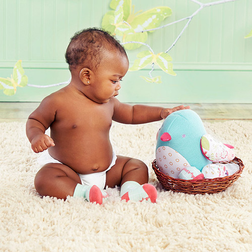 """Bitsy Bluebird"" Plush Plus Bird with ""Socks"" for Baby to Wear"