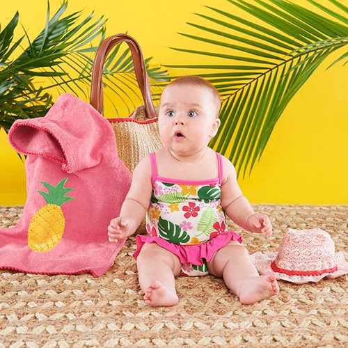 Tropical 4-Piece Gift Set with Raffia Tote for Mom - Girl