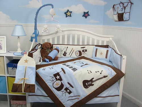 Rock Band Crib Bedding Set - Blue & Brown
