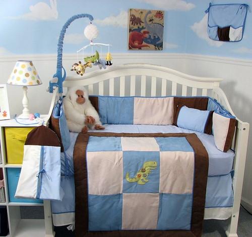 Dinosaur Fun Crib Bedding Set - Blue & Brown Suede