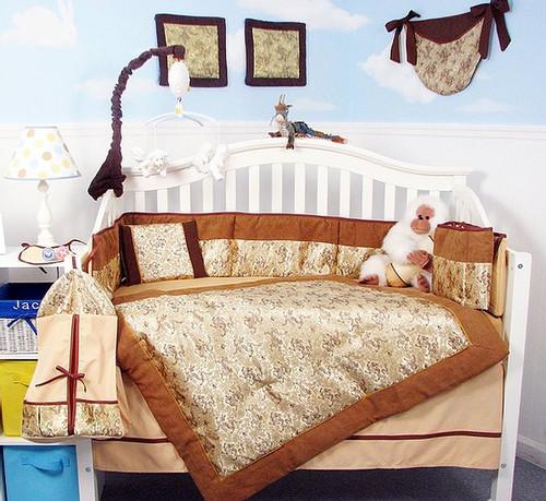 Golden Dragons Silky Crib Bedding Set