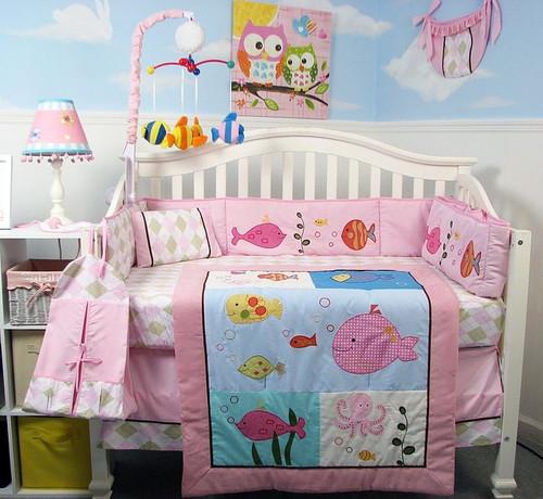 Fish Story Crib Bedding Set - Pink