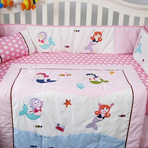 Mermaid Crib Bedding Set - Pink