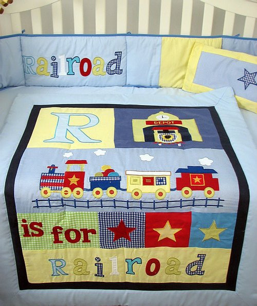 Railroad Train Crib Bedding Set - Blue