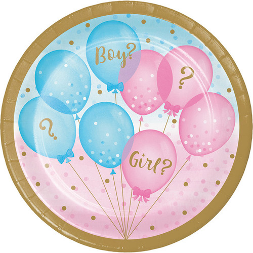 Gender Reveal Balloons Dessert Plates - 7""