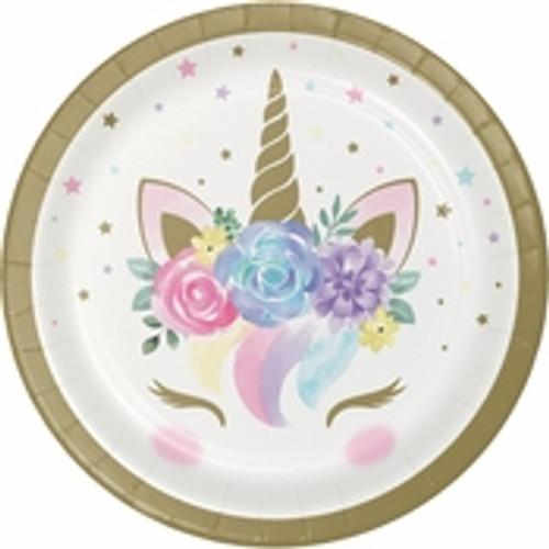 "Unicorn Baby Shower Dessert Plates - 7"""