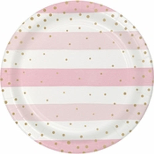Pink/Gold Celebration Baby Shower Dinner Plates - 9""