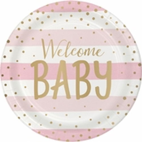 Pink/Gold Celebration Baby Shower Dinner Plates