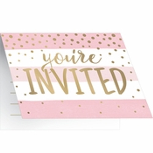 Pink/Gold Celebration Baby Shower Invitations